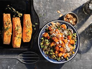 Roasted Salmon and Squash with Tricolour Quinoa