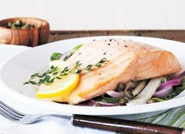 Baked salmon with capers