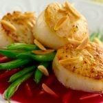 Seared-Scallops-with--Pomegranate-Almond-Glaze