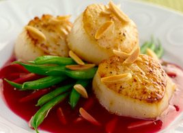Seared Scallops with Pomegranate-Almond Glaze