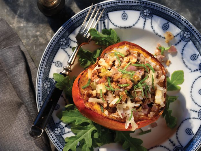 Turkey left overs, turkey sausage stuffed acorn squash