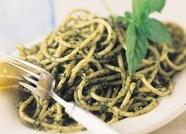 Angel Hair Pasta with Basil and Walnut Pesto