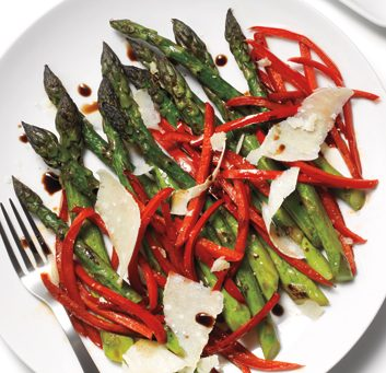 Roasted Asparagus and Red Peppers with Parmesan
