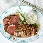 Herb-Roasted Beef Tenderloin with Blue Cheese Horseradish Sauce