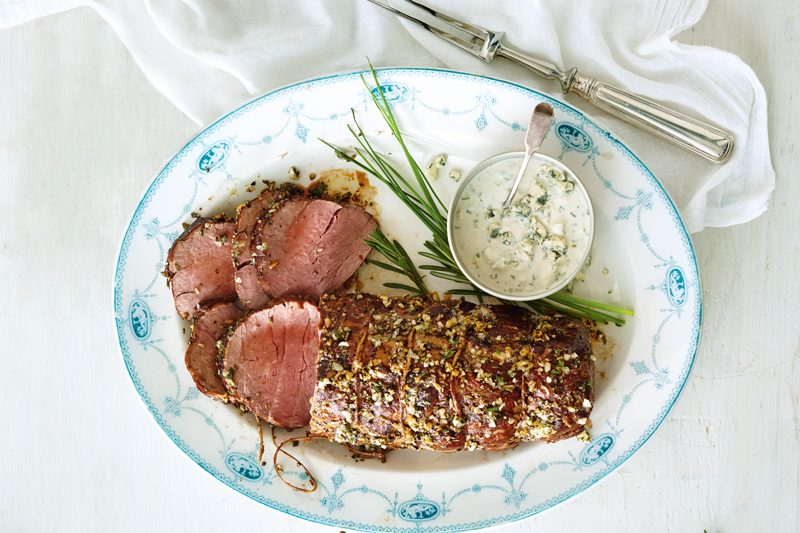 Herb-Roasted Beef Tenderloin with Blue Cheese Horseradish Sauce