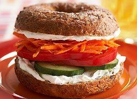 Veggie and Cream Cheese Bagel Sandwich