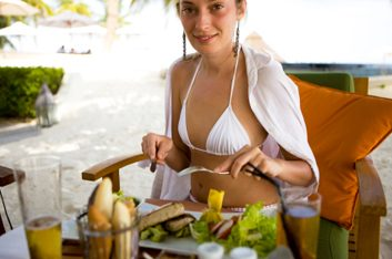 bikini eating