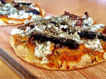 Meatless Monday: Butternut Squash, Portobello Mushroom, Caramelized Onion and Hazelnut Pizza
