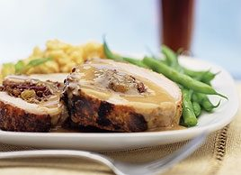 Red Cabbage Stuffed Pork Loin with Bavarian Mustard Sauce