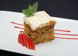 Lower-fat (nut-free!) Carrot Cake