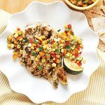 Grilled Chicken with Peach & Corn Salsa