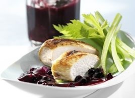 Grilled Chicken Breasts with Wild Blueberry Grape Sauce