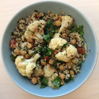 Meatless Monday: Roasted Cauliflower, Chickpea and Quinoa Salad with Pickled Jalapeno-Lemon Dressing