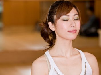 woman breathing meditation
