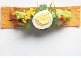Guacamole, Egg & Arugula on Crackers