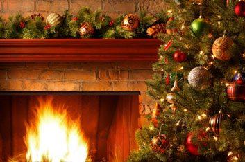 holiday fireplace christmas tree