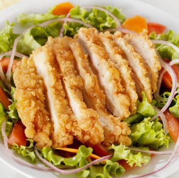unhealthy fried chicken salad