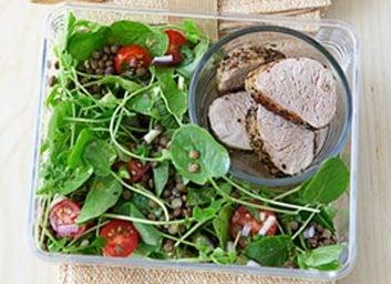 grilled pork and lentil salad