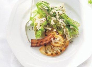 grilled romaine pancetta