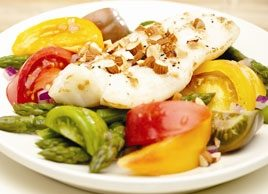 Grilled Fish with Heirloom Tomato, Asparagus & Almond Salad