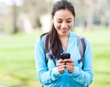 healthy app woman texting phone