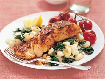 Honey and Mustard Salmon and Beans