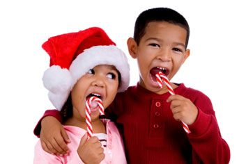 kids eating holiday candy canes