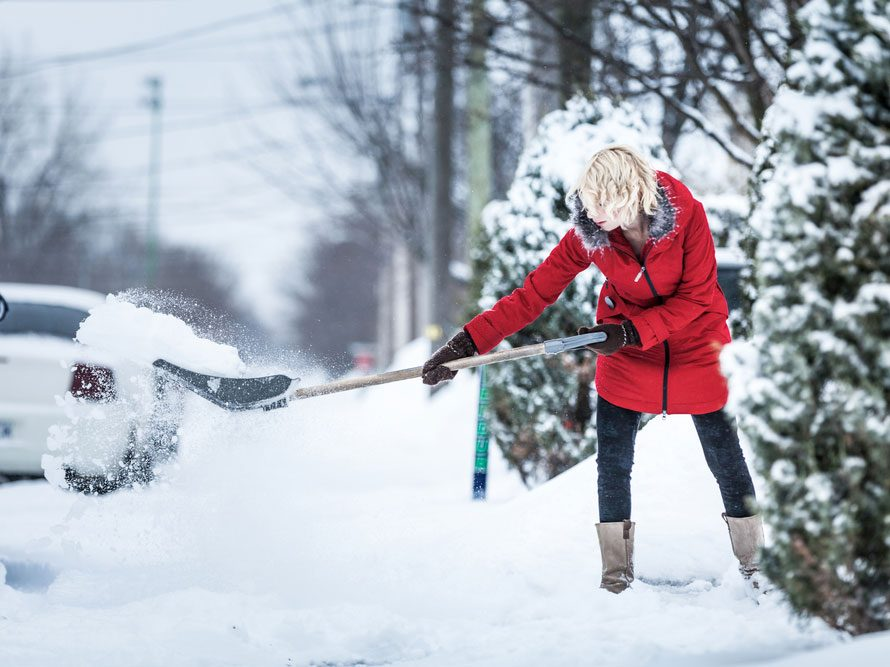 shovelling snow and back pain