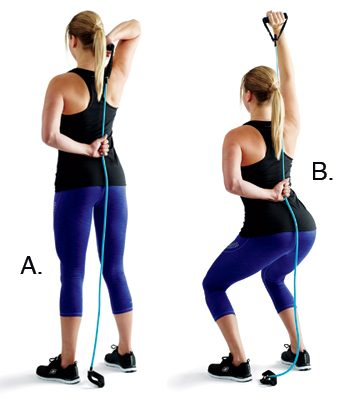 One-arm extensions with squats: 2 minutes