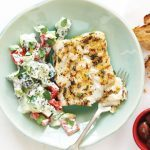 Oregano-Lemon Cod with Cucumber-Yogurt Salad