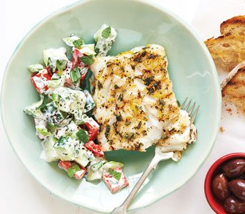 Oregano-Lemon Cod with Cucumber-Yogurt Salad