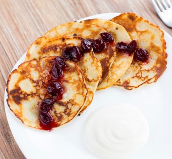 Lemon-Ricotta Pancakes with Cherry Sauce | Best Health Magazine Canada