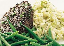 Pepper Steak with Leek Mashed Potatoes