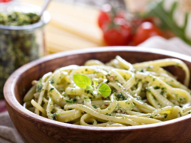 Ricotta Kale Pesto Sauce on Pasta
