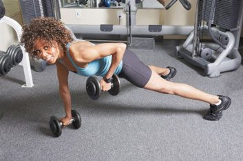 plank row with dumbbells