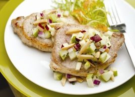 Grilled Pork Chops with Apple-Almond Salsa