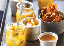 Baby Pumpkin Puddings with Cinnamon Whipped Cream and Pecan Brittle