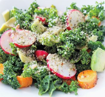 Radish, Kale & Hemp-seed Salad with Lemon-Honey Dressing