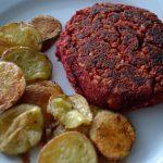 "Meatless Monday: Red Lentil Beet Burgers with Salt and Vinegar ""Chips"""