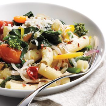 Rigatoni with Rapini, Cherry Tomatoes and Roasted Garlic