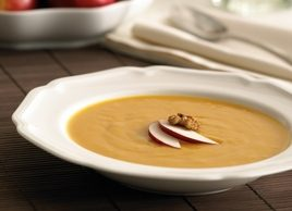 Roasted Apple and Sweet Potato Soup with Spiced Walnuts