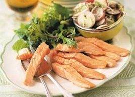 Roast Salmon Strips with Potato Salad