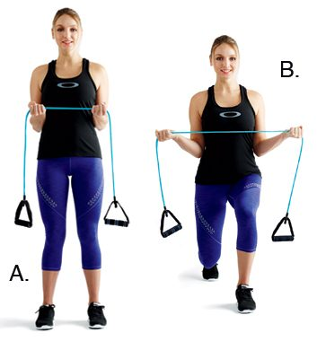 Rotator-cuff pulls with alternating lunges: 2 minutes