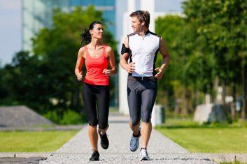 couple running outdoors