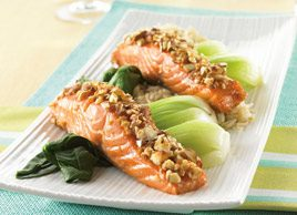Maple Baked Salmon with Chopped Almonds