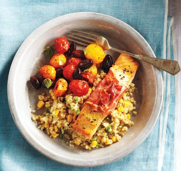 Prosciutto-Wrapped Salmon with Quinoa
