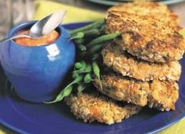 Salmon Cakes with Creamy Tomato-Garlic Sauce