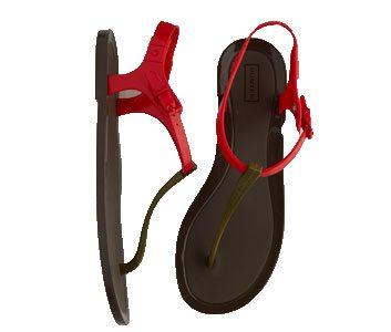 Rubber T-strap sandals