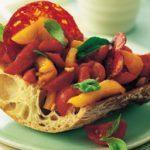 Sausage, Grilled Pepper and Tomato Bruschetta