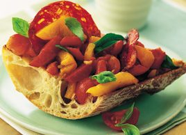 Sausage, Grilled Pepper and Tomato Bruschetta